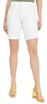 GUESS Relaxed White Denim Biker Shorts