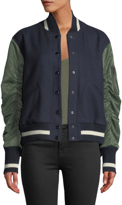 Veronica Beard Joanie Gathered-Sleeve Snap-Front Varsity Jacket