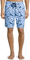 Vilebrequin Okoa Shark-Print Swim Trunks, Blue