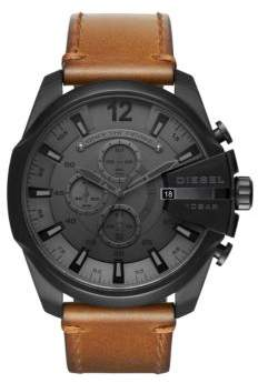 Diesel Advanced Mega Chief Leather-Strap Watch
