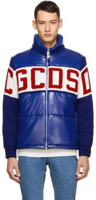 GCDS Blue Mix Logo Puffer Jacket