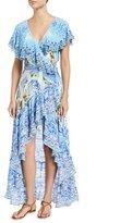 Camilla Frill Sleeve Long Silk Beach Dress