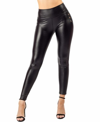 Lexi Fashion Womens Ladies Sexy Shiny Wet Look Studded Matte Full Length Leggings High Waist Stretch PU PVC Latex Imitation Faux Leather Black UK Size L/XL 12/14
