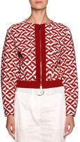 Giorgio Armani Geometric-Print Zip Bomber Jacket, Red