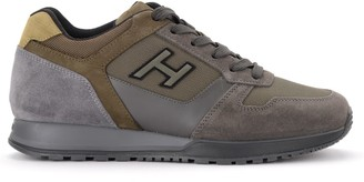Hogan Sneaker H321 Model Made Of Suede And Green And Gray Fabric