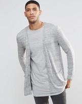 Asos Longline Cardigan In Gray