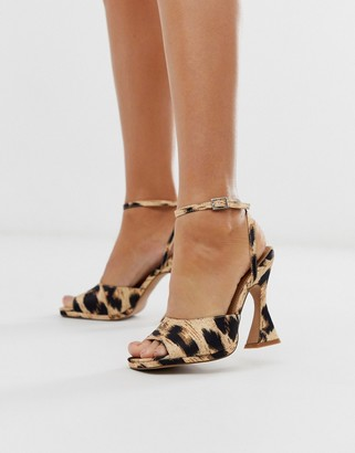 ASOS DESIGN Hakka platform heeled sandals in leopard