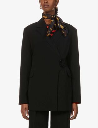Ganni Melange wraparound stretch-woven blazer