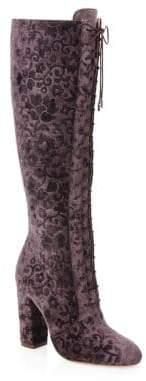 Alice + Olivia Vesey Embossed Velvet Boots