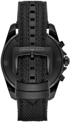 Emporio Armani Sigma Leather-Backed Cordura Tactical Nylon Strap Chronograph Watch