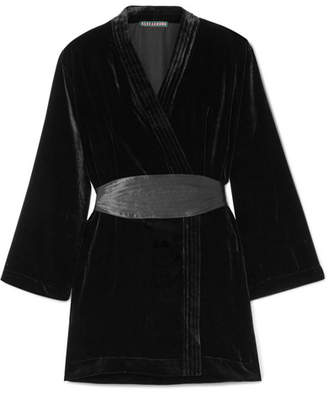 ALEXACHUNG Satin-trimmed Velvet Wrap Mini Dress - Black