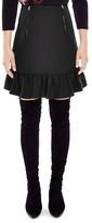 Sandro Soho Ruffled-Hem Textured Skirt