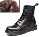 LOVEBEAUTY Women's Leather Lace up Ankle Bootie Winter Military Combat Boots US 7(EU 38)