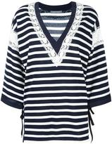 Alberta Ferretti striped v-neck jumper - women - Silk/Cotton/Acetate/other fibers - 44