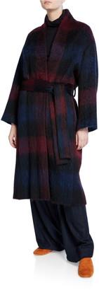 Vince Brushed Plaid Belted Long Coat