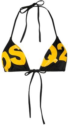 DSQUARED2 Logo Print Bikini Top