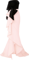 Marchesa Bow-Embellished Strapless Silk Gown