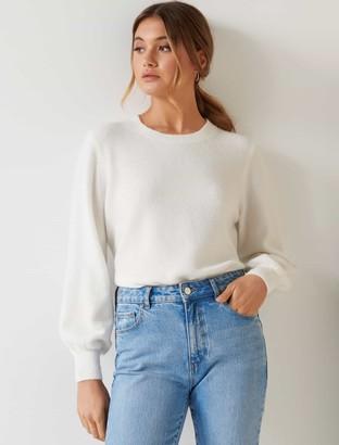 Forever New Elissa Blouson Sleeve Wool Jumper - Porcelain - l