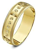 Theia 9ct Yellow Gold Heavy Weight - Circle Design with Millgrain Edge D-Shape 4mm Wedding Ring - Size U