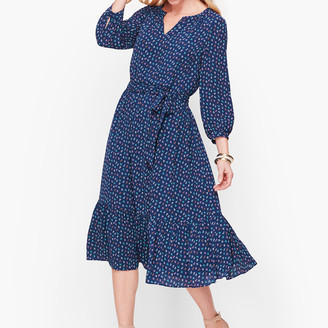 Talbots Print Flounce Hem Dress