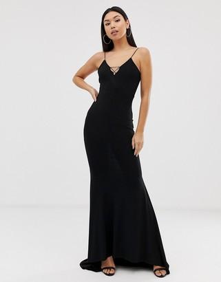 Club L London cami strap fishtail maxi dress in black