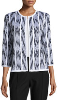 Misook Chevron-Print Straight-Fit Jacket, White/Black