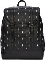 Neil Barrett Black & White Leather Thunderbolt Backpack