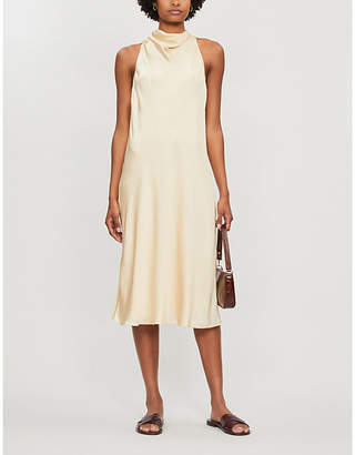 Theory Draped-neck silk-blend dress