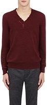 Lanvin Men's Donegal-Effect Destroyed Sweater-BLACK, BURGUNDY