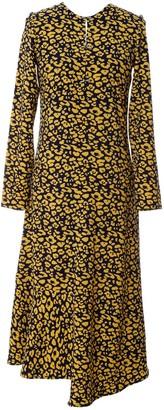 L2r The Label Asymmetric Dress In Yellow & Blue Leopard