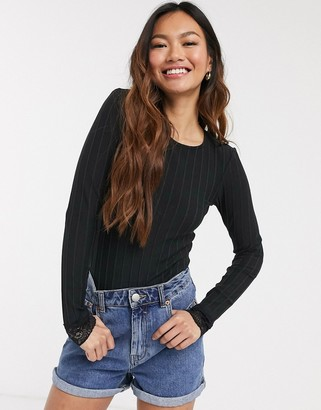 Pieces Nynne lace edge long sleeve top