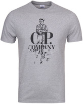 Cp Company Grey Marl Contrast Logo Short Sleeve T-shirt