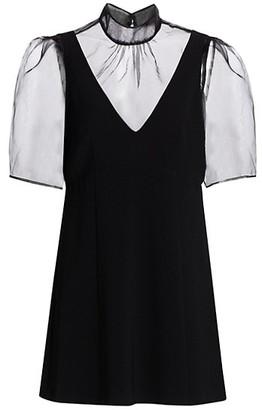 Cinq à Sept Frances Sheer Tulle Yoke Mini Dress