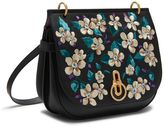 Mulberry Amberley Satchel Black Flower Embroidery Small Classic Grain