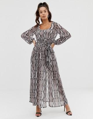 Asos Design DESIGN belted snake print maxi dress-Multi