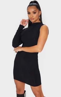 PrettyLittleThing Petite Black One Shoulder Long Sleeve Bodycon Dress