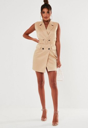 Missguided Nude Sleeveless Belted Blazer Dress