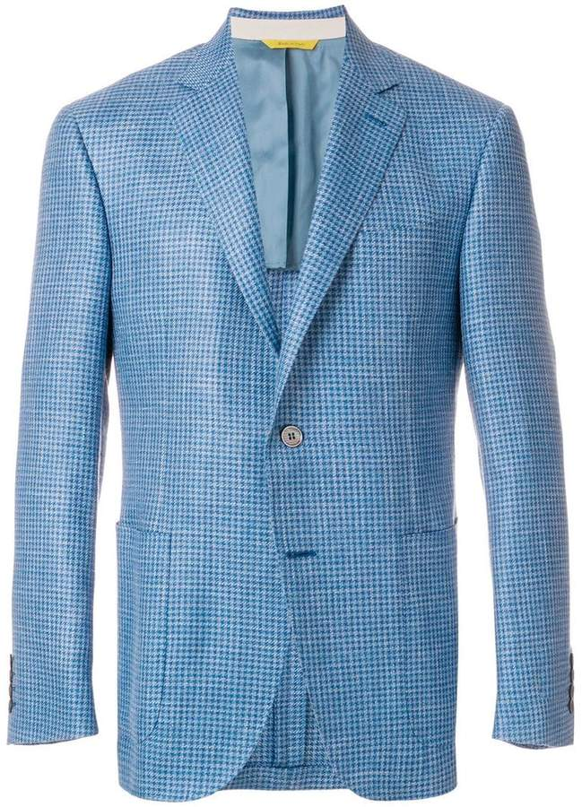 Canali gingham fitted blazer