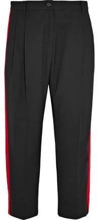 Dolce & Gabbana Cropped Felt-Trimmed Wool-Blend Crepe Straight-Leg Pants
