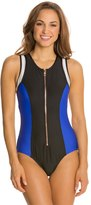 Luxe by Lisa Vogel On Your Mark Zip Front One Piece Swimsuit 8121240
