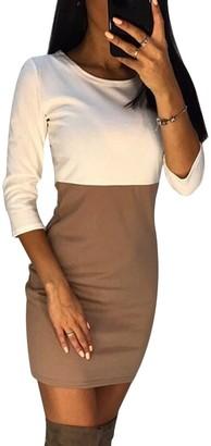 Tidecc Women Bodycon Pencil Dress Long Sleeve Color Block Patchwork Work Office Party Mini Dress 3 Colors (Tag XL(UK 12)