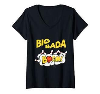 Womens Bowling Strike Big Bada Boom V-Neck T-Shirt