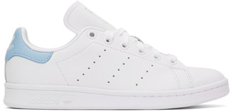 adidas White and Blue Stan Smith Sneakers