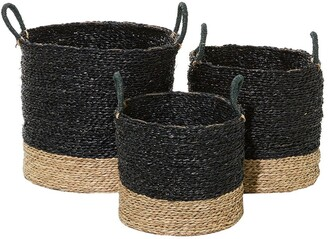 """Willow Row Black And Natural Woven Round Seagrass Baskets With Handles - Set Of 3: 14"""" - 16"""" - 18"""""""