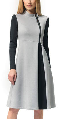 LADA LUCCI Women's Casual Dresses Light - Light Gray & Black Zip-Up Mock Neck Long-Sleeve Sheath Dress - Women & Plus