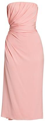 Dolce & Gabbana Strapless Draped Charmeuse Midi Dress