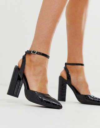 Truffle Collection pointed block heel in black croc