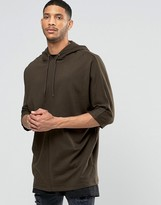 Asos Oversized Longline Hoodie In Batwing With Reverse Loopback