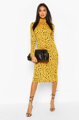 boohoo Dalmatian Print Turtle Neck Midi Dress