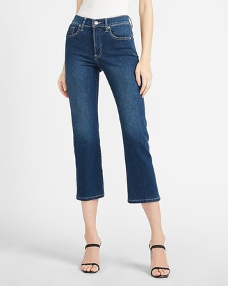 Express Mid Rise Dark Wash Cropped Flare Jeans